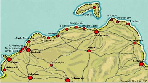 Antrim Dunluce Castle Map